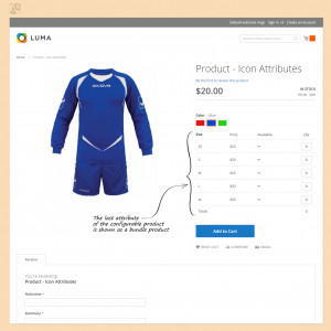 The last attribute of the configurable product is shown as a bundle product