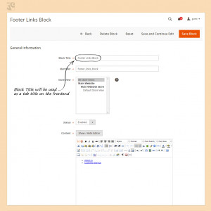 Block Title will be used as a tab title on the frontend