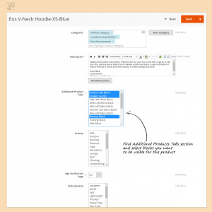 Find Additional Products Tabs section and select blocks you want to be visible for this product